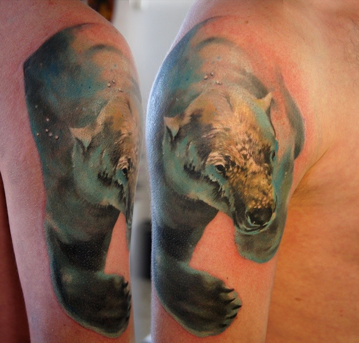 Bear watercolor tattoo - photo#11