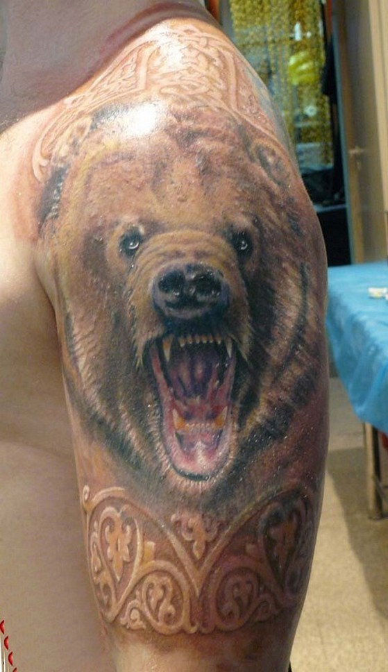 рисунки медведя для тату