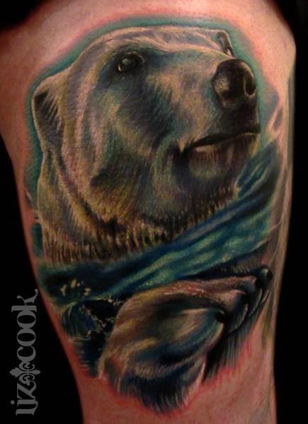 Bear watercolor tattoo - photo#24
